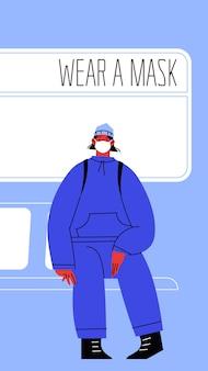 Illustrazione di una donna seduta sui mezzi pubblici che copre il viso.