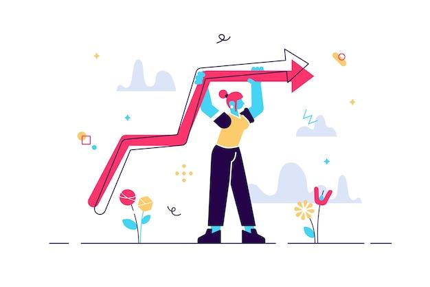 Illustrazione della donna in piedi con il grafico in crescita