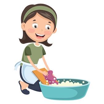 Illustrazione dei vestiti di lavaggio della donna