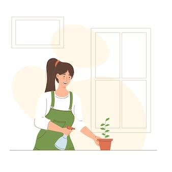 Illustrazione di una donna che innaffia le piante nel suo giardino