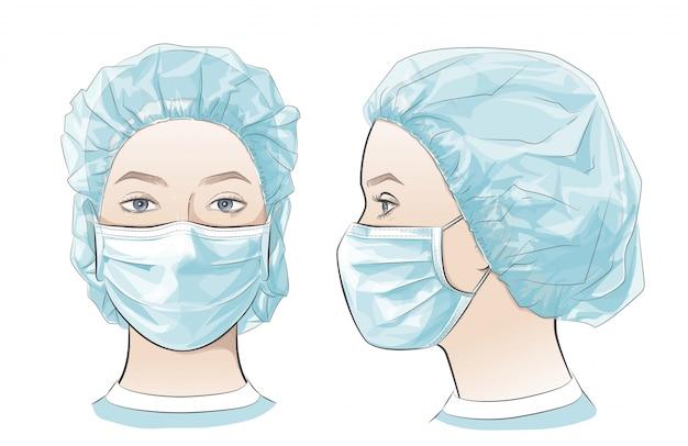 Illustrazione donna che indossa una maschera chirurgica medica monouso.