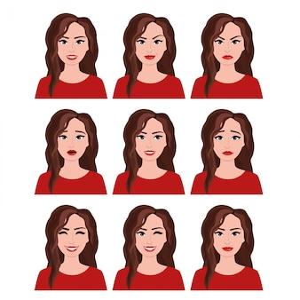 Illustrazione della donna con differenti espressioni facciali messe. le emozioni hanno messo su fondo bianco nello stile piano.