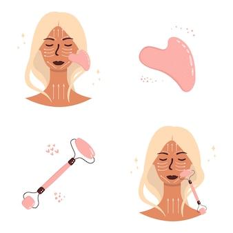 Illustrazione di una donna con un rullo facciale al quarzo e un raschietto a guazzo. cura del viso con massaggio.
