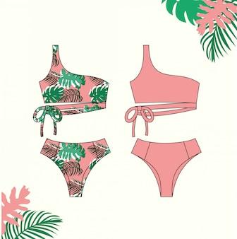 Illustrazione del bikini femminile, costume da bagno bikini rosa per l'estate, modello di schizzo piatto di moda.