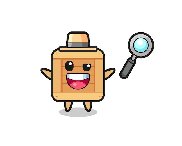 Illustrazione della mascotte della scatola di legno come un detective che riesce a risolvere un caso, design in stile carino per maglietta, adesivo, elemento logo