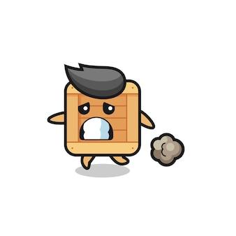Illustrazione della scatola di legno che corre nella paura, design in stile carino per maglietta, adesivo, elemento logo