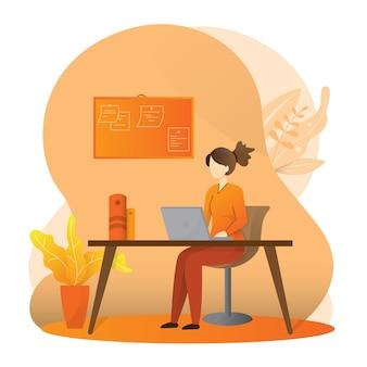 Illustrazione, lavoro da casa online, spazio creativo, autoisolamento, libero professionista che lavora su un laptop o un computer