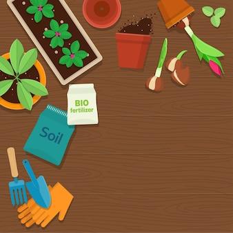 Illustrazione del giardiniere sul posto di lavoro e attrezzi da giardinaggio su fondo in legno