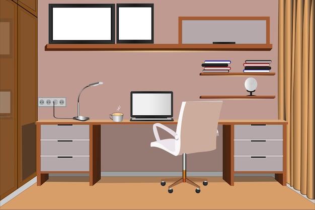 Illustrazione di uno spazio di lavoro completo di accessori