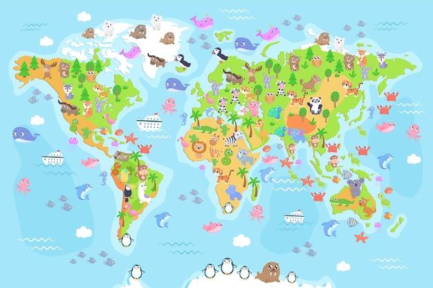 Illustrazione della mappa del mondo con gli animali per i bambini. design piatto.