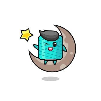Illustrazione del fumetto della bobina di filato seduto sulla mezza luna, design in stile carino per maglietta, adesivo, elemento logo