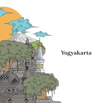 Illustrazione del punto di riferimento di yogyakarta illustrazione indonesiana disegnata a mano