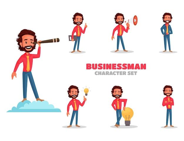 Illustrazione del set di caratteri del giovane uomo d'affari
