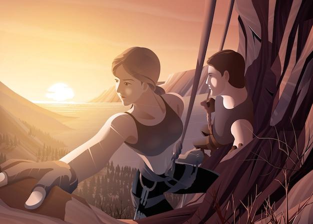 Illustrazione di una giovane coppia che si arrampica sulla scogliera insieme a uno sfondo del bellissimo scenario dell'estuario del mare e del sorgere del sole