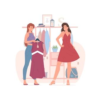 Illustrazione di giovani amiche e provare abiti alla moda durante lo shopping