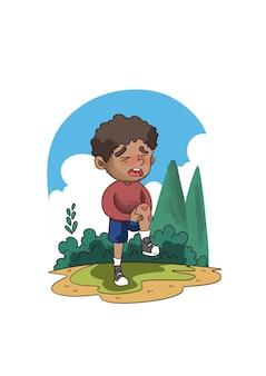 Illustrazione del ragazzino piangendo e urlando