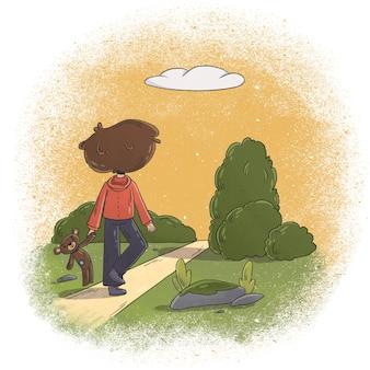 Illustrazione del ragazzino che cammina con il suo orsacchiotto in mano