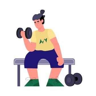 Illustrazione del giovane allenamento con manubri in palestra oa casa
