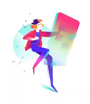 Illustrazione di un giovane con uno smartphone. Vettore Premium