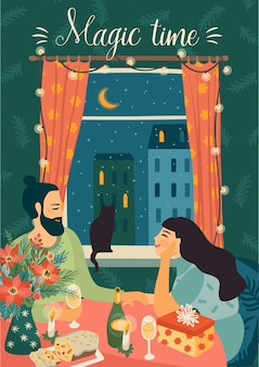 Illustrazione di giovane uomo e donna al tavolo festivo. stile retrò alla moda.