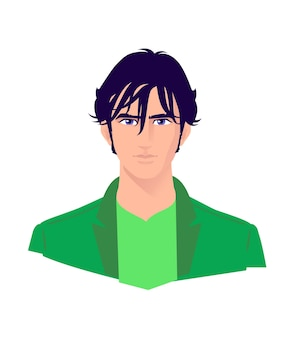 Illustrazione di un giovane uomo alla moda. vettore. personaggio dei cartoni animati di ragazzo adulto per pubblicità e design.