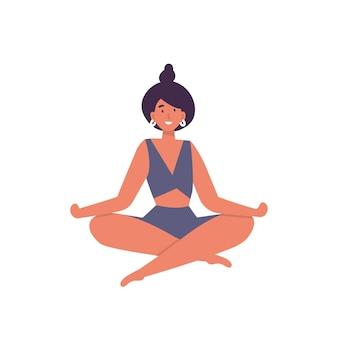Illustrazione della giovane donna che fa esercizio di yoga.