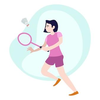 Illustrazione della giovane donna che pratica il badminton ogni pomeriggio