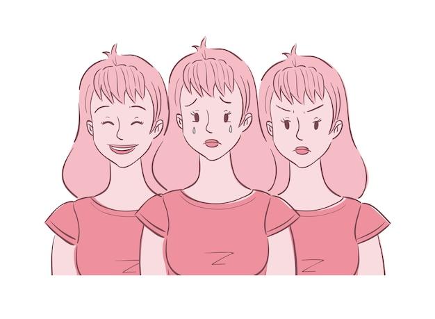 Illustrazione della giovane donna mostrata in diversi stati d'animo
