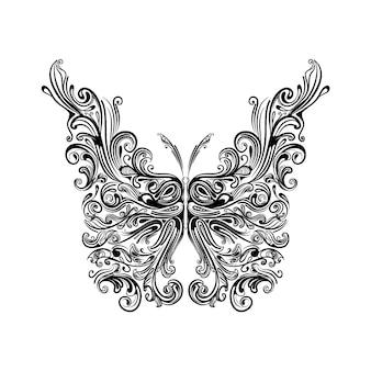 L'illustrazione della farfalla zentangle con l'ala grande per l'ispirazione del tatuaggio