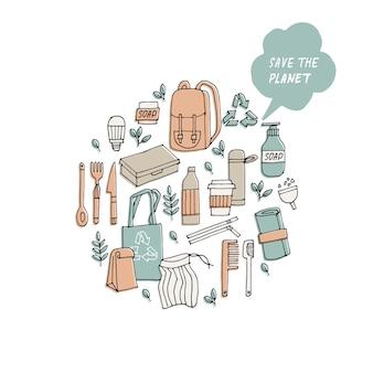 Illustrazione zero rifiuti riciclare strumenti eco friendly raccolta di icone di ecologia