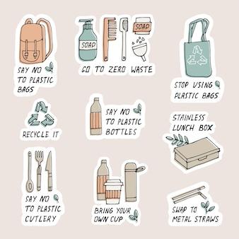 Illustrazione zero rifiuti, riciclo, strumenti eco-compatibili, raccolta di adesivi di ecologia con slogan.
