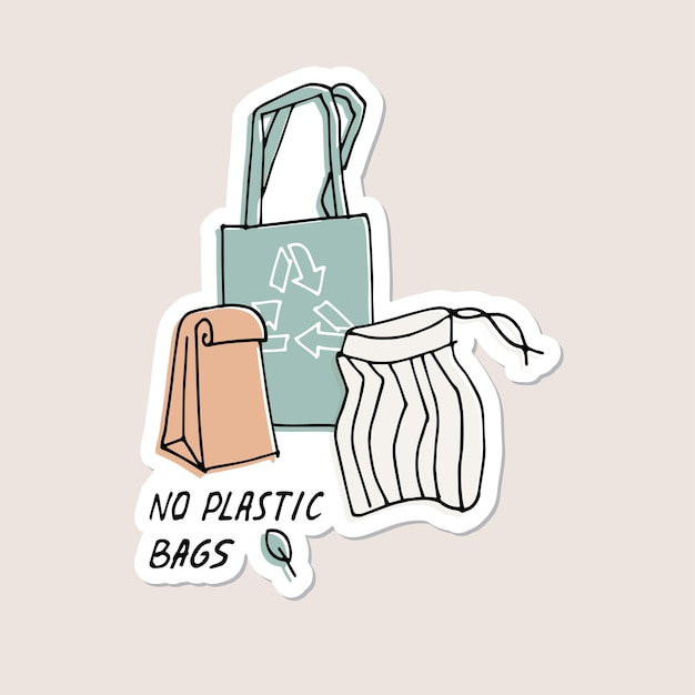 Illustrazione zero rifiuti riciclare senza sacchetti di plastica protezione dell'ambiente citazione adesivi perni