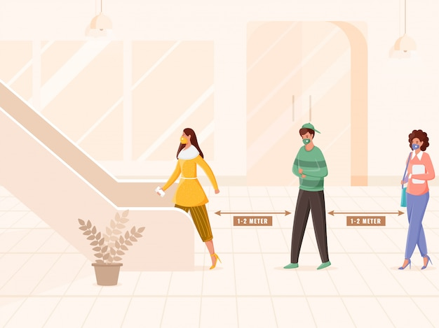 Illustrationf di persone che indossano una maschera protettiva mentre mantengono la distanza in una coda salendo le scale o le scale mobili per prevenire il coronavirus.