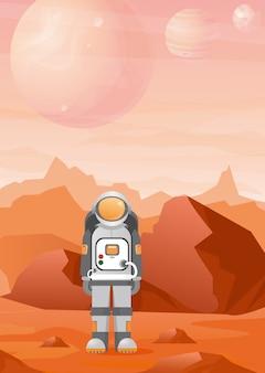 Illustrazioni di astronauta sul pianeta marte con paesaggio di montagne rosse. astronomia, esplorazione dello spazio, colonizzazione in stile piatto.