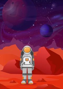 Illustrazioni di astronauta su marte. paesaggio di montagne rosse su spazio buio con sfondo di pianeti. astronomia, esplorazione dello spazio, colonizzazione, stile piatto.