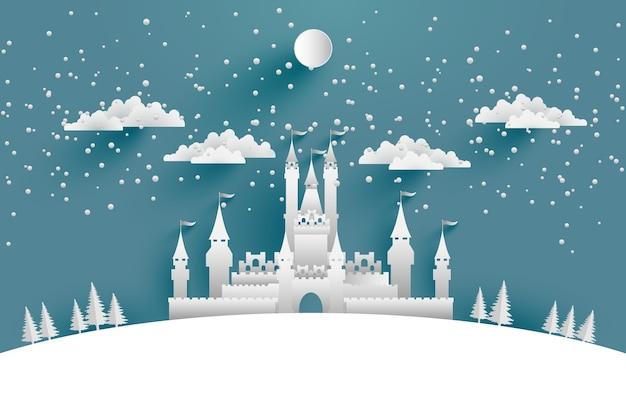 Illustrazioni grande castello in inverno per sfondi, poster o sfondi. disegno artistico della carta
