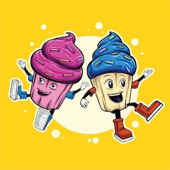 Illustrazioni dei muffin della sorella e del fratello che giocano insieme
