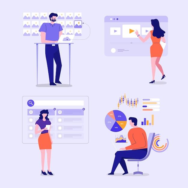 Illustrazioni di personaggi aziendali impegnati postura di azione lavorando per affari