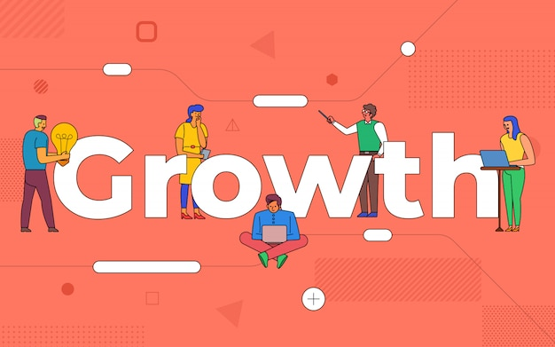Il lavoro di squadra di affari delle illustrazioni crea la crescita del business lavorando insieme. crescita del concetto di testo buildind. illustrare. Vettore Premium