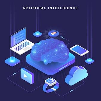 Illustrazioni concetto intelligenza artificiale ai