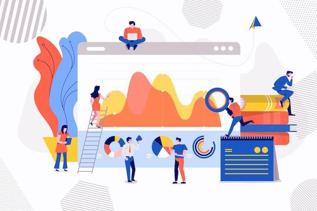 Dati di analisi dell'uomo d'affari di concetto delle illustrazioni del marketing tramite grafico e grafico