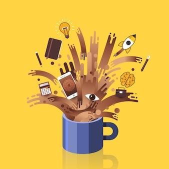 Illustrazioni concetto tazza di caffè splash oggetti sveglia per il lavoro. .