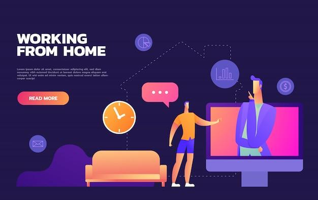 Concetto coronavirus covid-19 delle illustrazioni. la società consente ai dipendenti di lavorare da casa per evitare virus. illustrare.