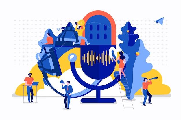 Illustrazioni concept design canale podcast. il lavoro di squadra fa podcasting.il microfono da studio trasmette persone. icona della radio podcast.