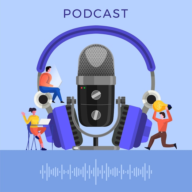 Illustrazioni concept design canale podcast. il lavoro di squadra fa podcasting.il microfono da studio trasmette persone. radio podcast.