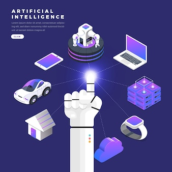 Illustrazioni concetto mano del robot utilizzare dito fare clic su linea grafica tecnologia internet delle cose