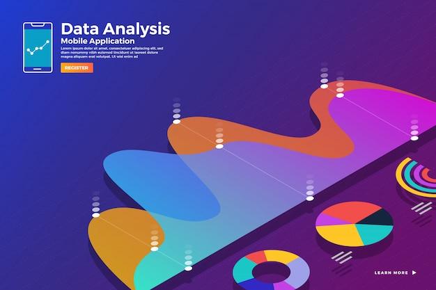 Le illustrazioni concetto analisi dei dati isometrici e riportano grafico statico arguzia e grafico grafico. modello per banner modello di sito web. illustrare.