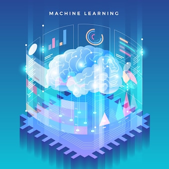 Illustrazioni concept machine learning tramite intelligenza artificiale con dati e conoscenze di analisi tecnologica.