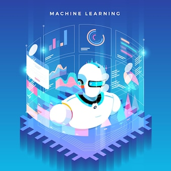 Illustrazioni concept machine learning tramite intelligenza artificiale.