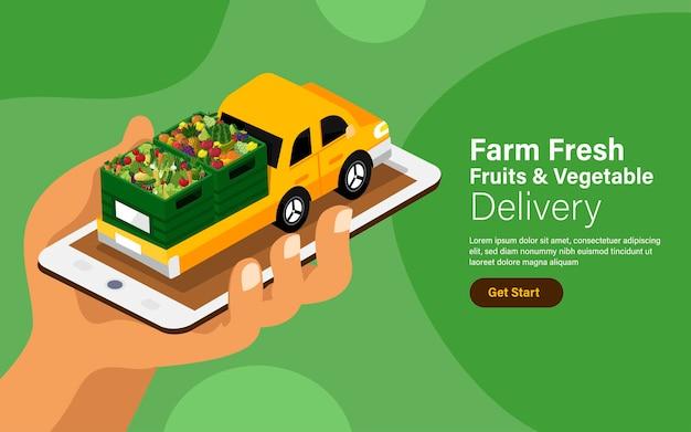 Illustrazioni concetto online frutta verdura servizio di consegna